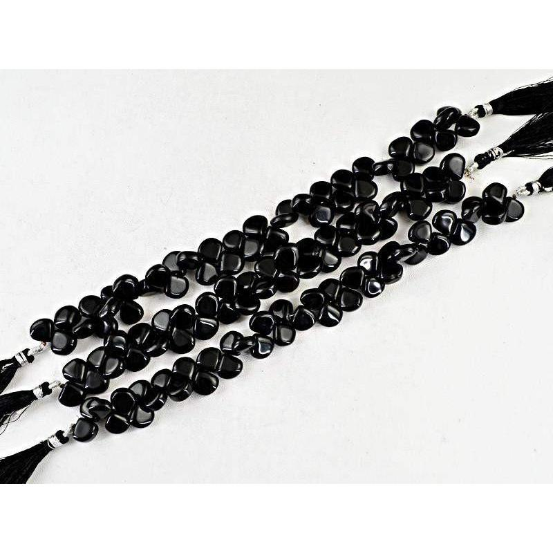 gemsmore:Natural Drilled Black Onyx Unheated Beads Strands