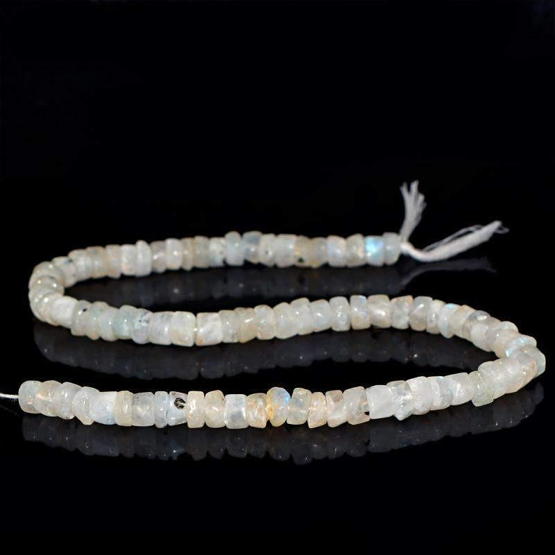 gemsmore:Natural Drilled Blue Flash Moonstone Beads Strand