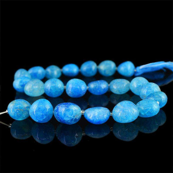gemsmore:Natural Drilled Blue Onyx Beads Strand - Untreated