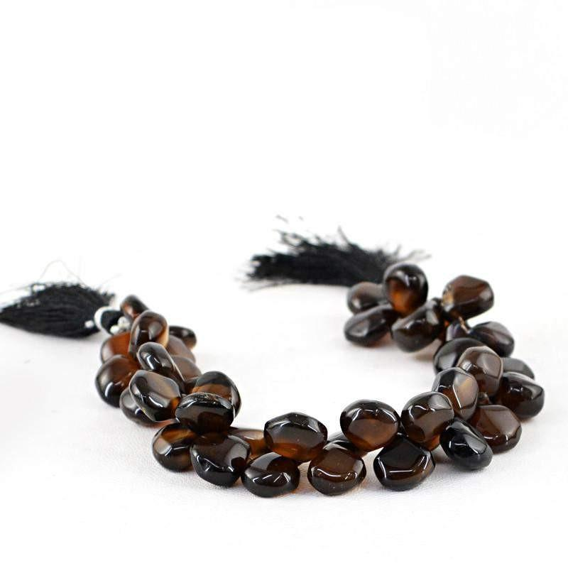 gemsmore:Natural Drilled Brown Onyx Unheated Beads Strand