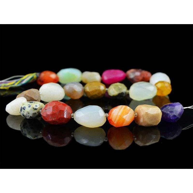 gemsmore:Natural Drilled Faceted Multi Gemstone Beads Strand