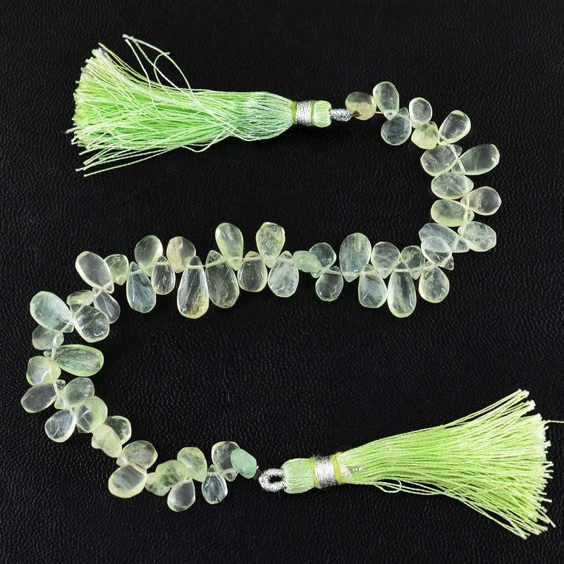 gemsmore:Natural Drilled Green Fluorite Untreated Beads Strand