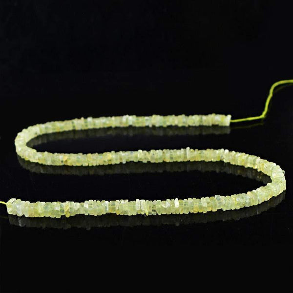 gemsmore:Natural Drilled Green Phrenite Beads Strand