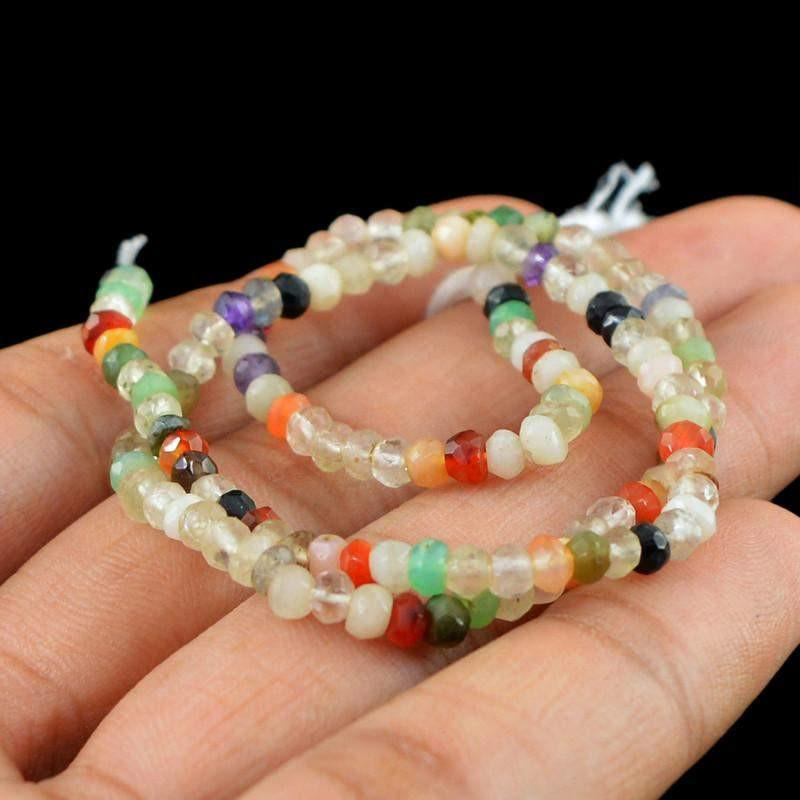 gemsmore:Natural Drilled Multi Gemstone Faceted Unheated Beads Strand
