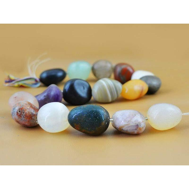 gemsmore:Natural Drilled Multi Gemstone Unheated Beads Strand