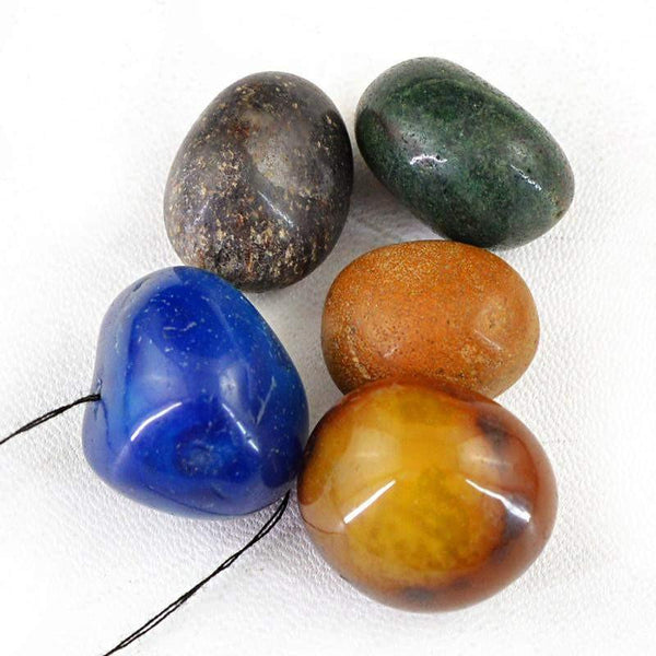gemsmore:Natural Drilled Multicolor Multi Gems Beads Lot