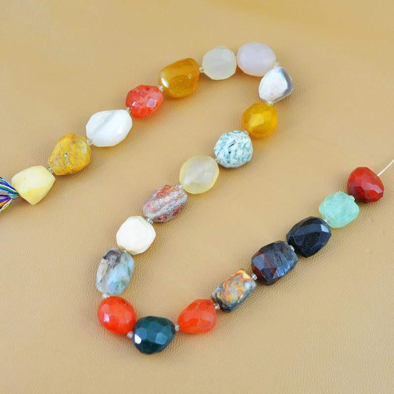 gemsmore:Natural Drilled Onyx & Agate Faceted Beads Strand