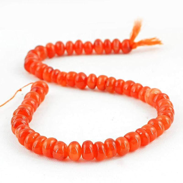 gemsmore:Natural Drilled Orange Carnelian Round Beads Strand