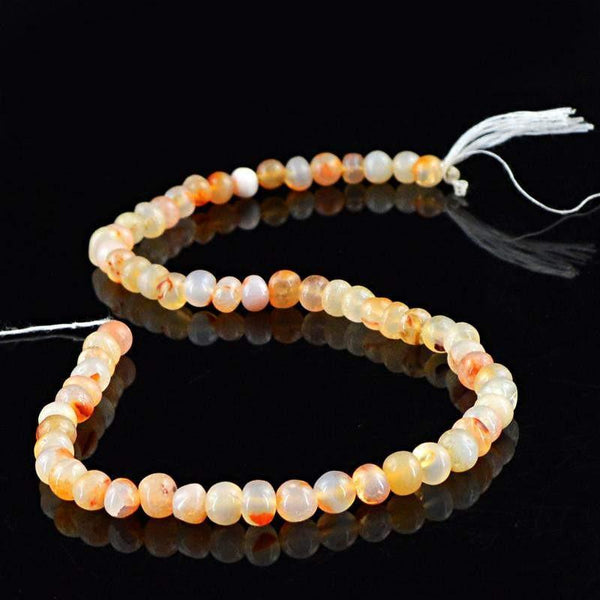 gemsmore:Natural Drilled Orange Onyx Round Beads Strand