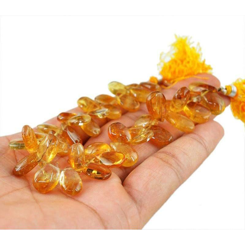 gemsmore:Natural Drilled Pear Shape Yellow Citrine Beads Strand