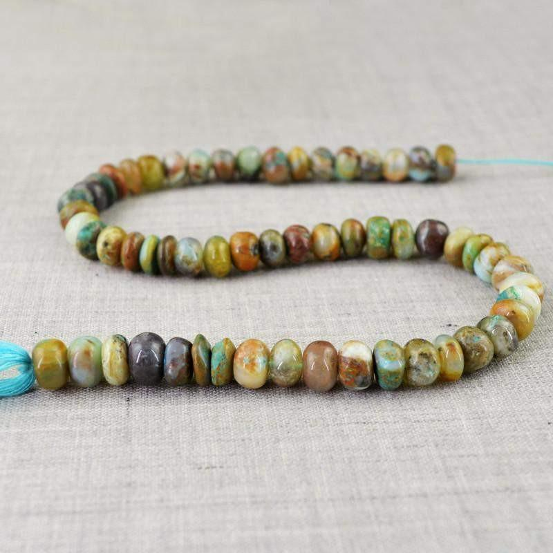 gemsmore:Natural Drilled Peruvian Opal Round Beads Strand