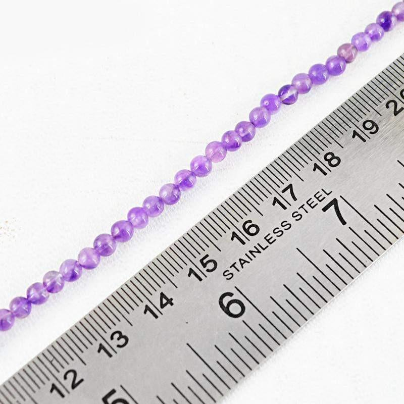 gemsmore:Natural Drilled Purple Amethyst Round Beads Strand