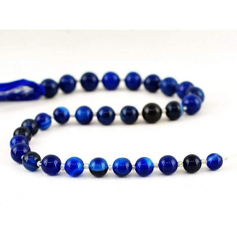 gemsmore:Natural Drilled Untreated Blue Onyx Round Shape Beads Strand