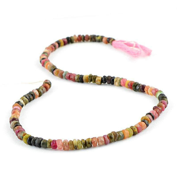 gemsmore:Natural Drilled Watermelon Tourmaline Beads Strand