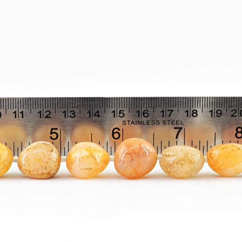 gemsmore:Natural Drilled Yellow Onyx Beads Strand