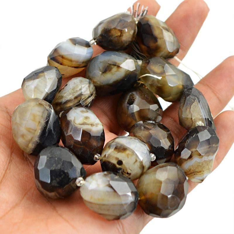gemsmore:Natural Faceted Black & White Onyx Beads Strand