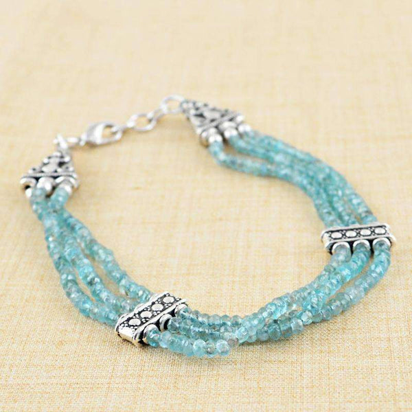 gemsmore:Natural Faceted Blue Apatite Bracelet Round Shape Beads