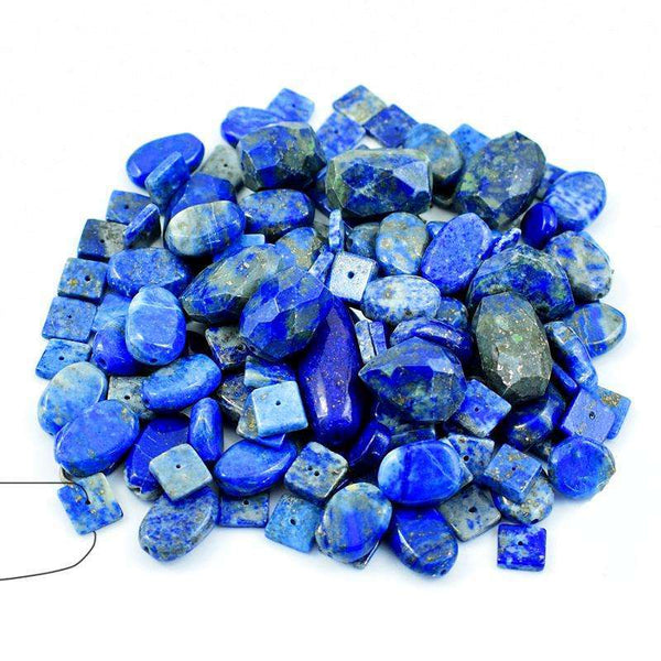 gemsmore:Natural Faceted Blue Lapis Lazuli Drilled Beads