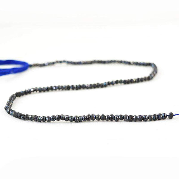 gemsmore:Natural Faceted Blue Tanzanite Drilled Beads Strand - Round Shape