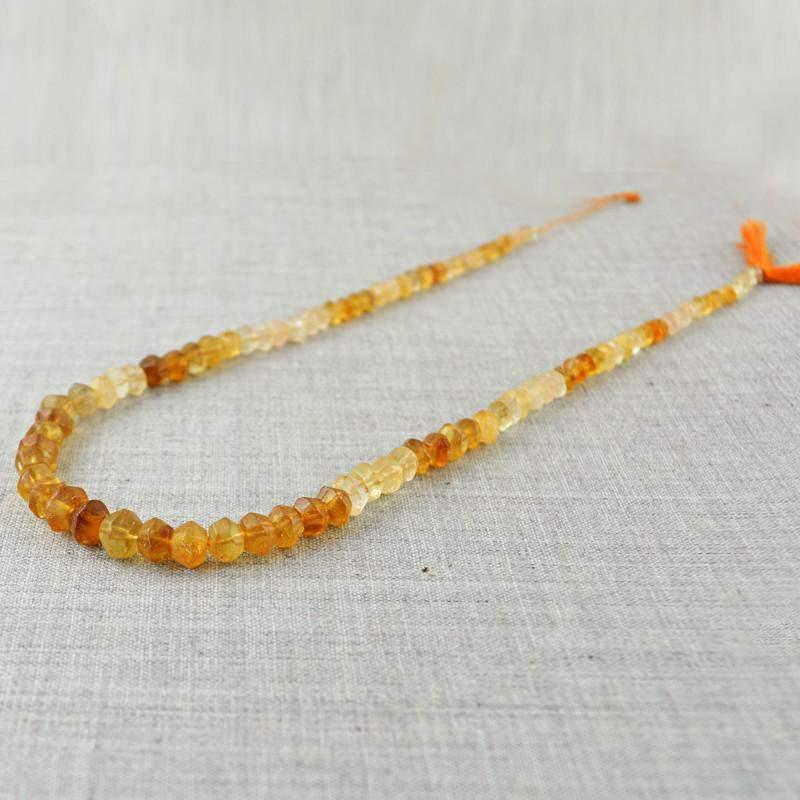 gemsmore:Natural Faceted Citrine Beads Strand