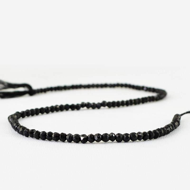 gemsmore:Natural Faceted Drilled Black Spinel Beads Strand