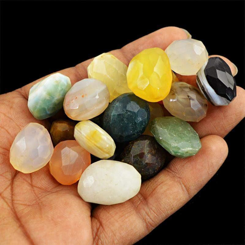gemsmore:Natural Faceted Drilled Multicolor Multi Gemstone Beads Lot