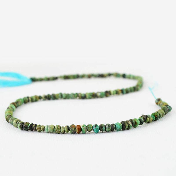 gemsmore:Natural Faceted Drilled Turquoise Round Beads Strand
