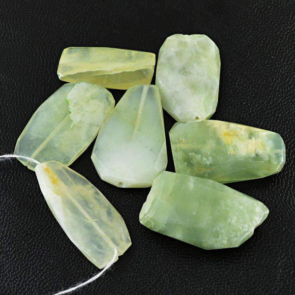 gemsmore:Natural Faceted Green Aquamarine Drilled Beads Lot