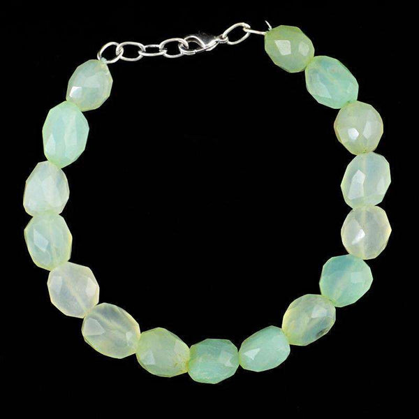 gemsmore:Natural Faceted Green Chalcedony Beads Bracelet
