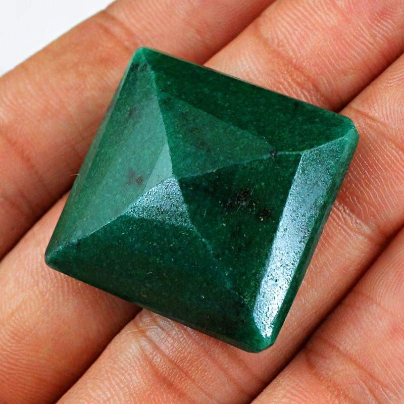 gemsmore:Natural Faceted Green Emerald Loose Gemstone