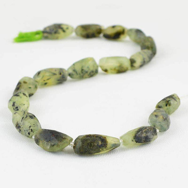 gemsmore:Natural Faceted Green Phrenite Beads Strand
