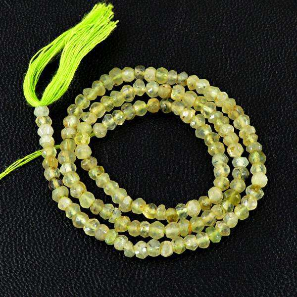 gemsmore:Natural Faceted Green Phrenite Round Shape Drilled Beads Starnd