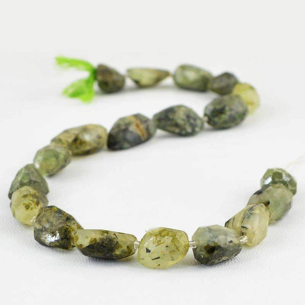 gemsmore:Natural Faceted Green Phrenite Strand Drilled Beads
