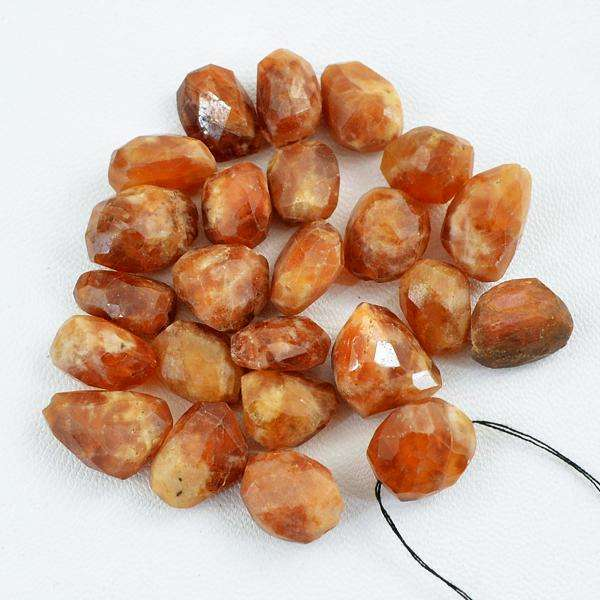 gemsmore:Natural Faceted Indian Opal Beads Lot - Drilled Untreated