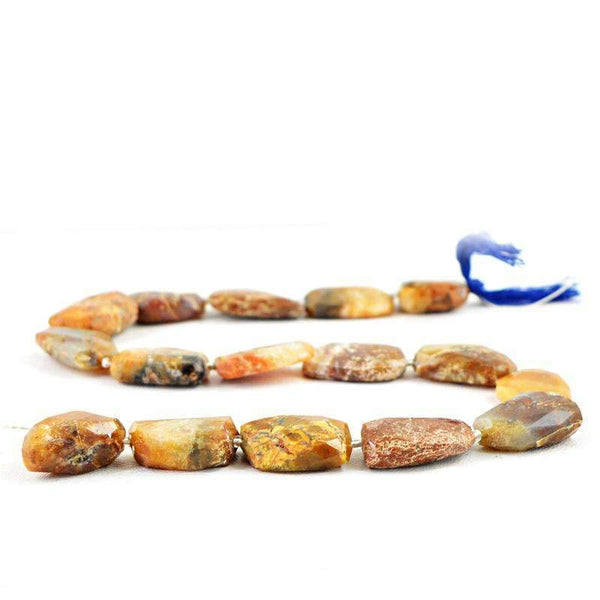 gemsmore:Natural Faceted Indian Opal Drilled Beads Strand