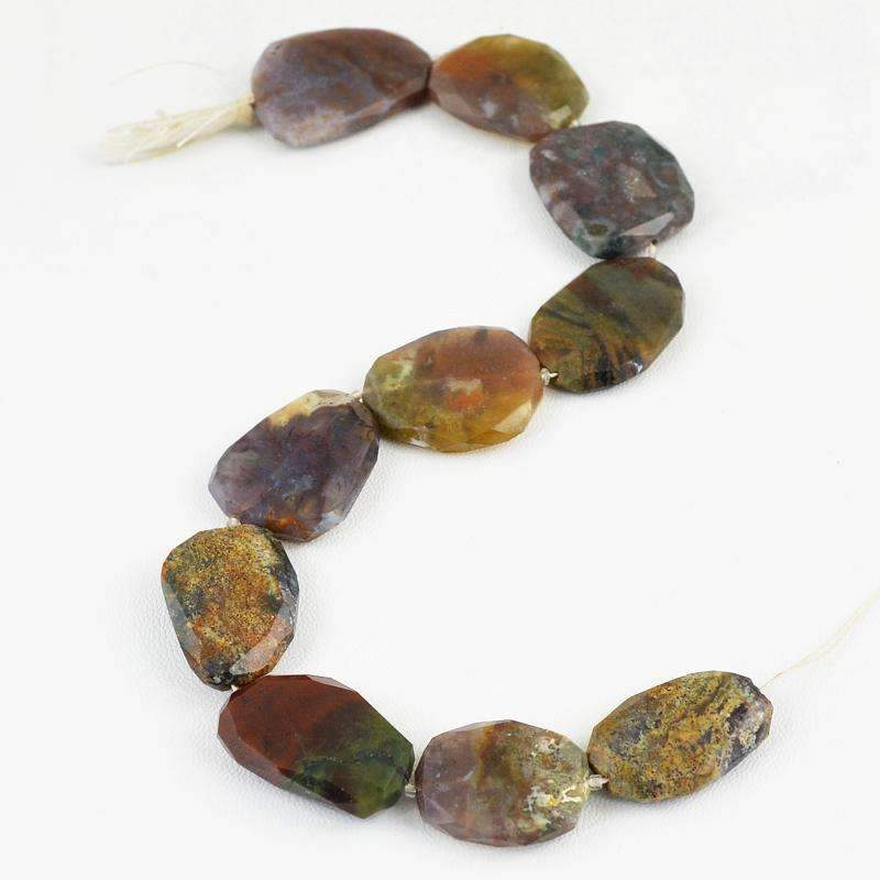 gemsmore:Natural Faceted Moss Agate Strand Drilled Beads