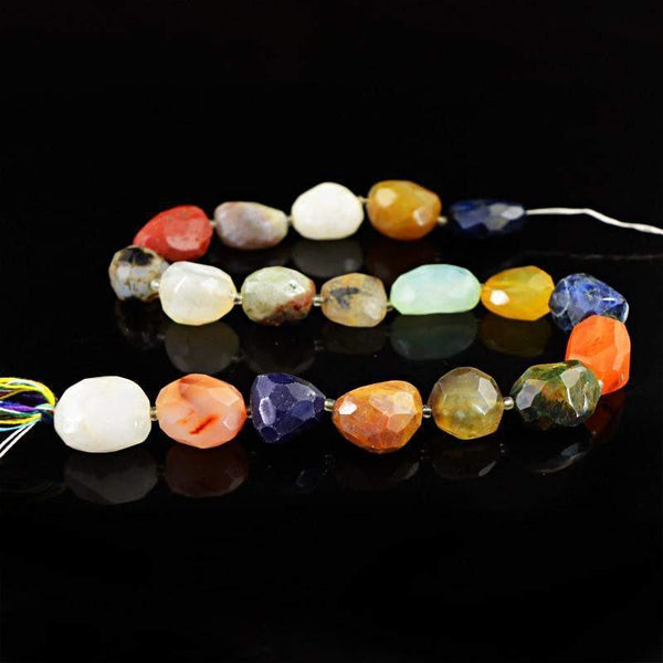 gemsmore:Natural Faceted Multicolor Multi Gemstone Beads Strand