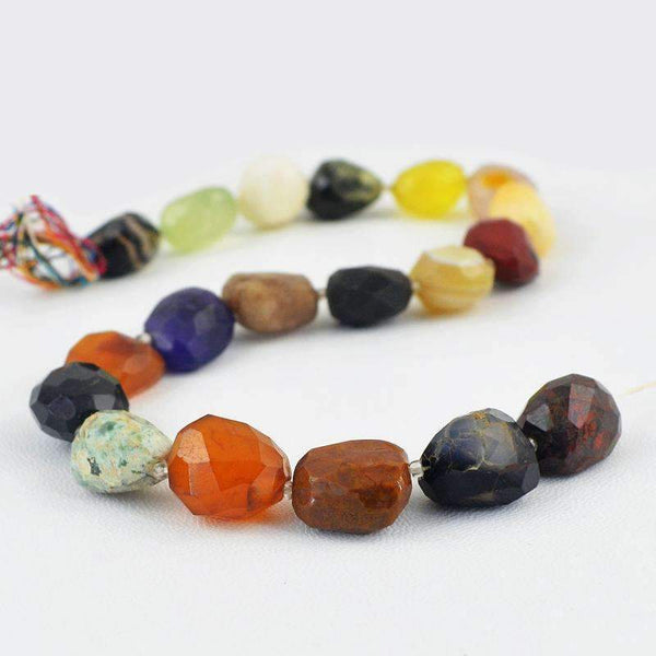 gemsmore:Natural Faceted Multicolor Multi Gemstone Drilled Beads Strand
