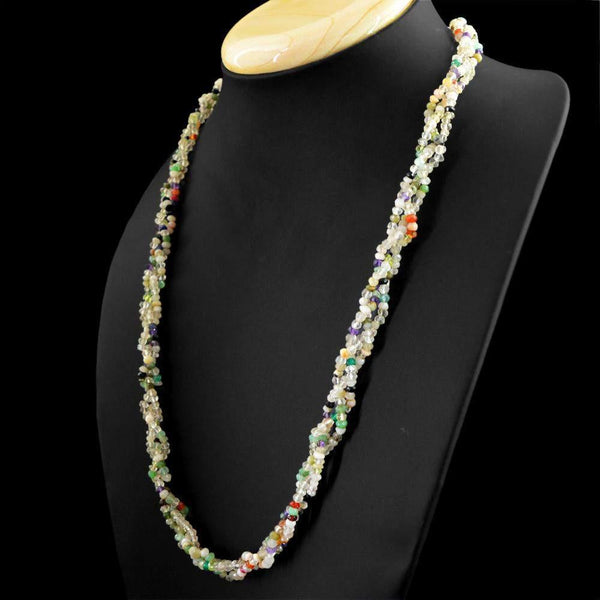 gemsmore:Natural Faceted Multicolor Multi Gemstone Necklace Round Shape Beads