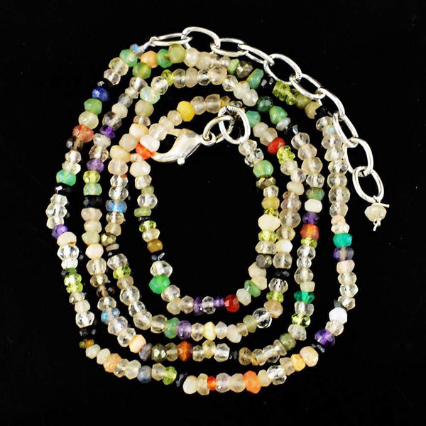 gemsmore:Natural Faceted Multicolor Multi Gemstone Necklace Round Shape Untreated Beads