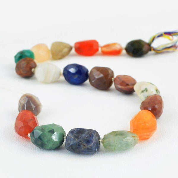 gemsmore:Natural Faceted Multicolor Multi Gemstone Strand Drilled Beads
