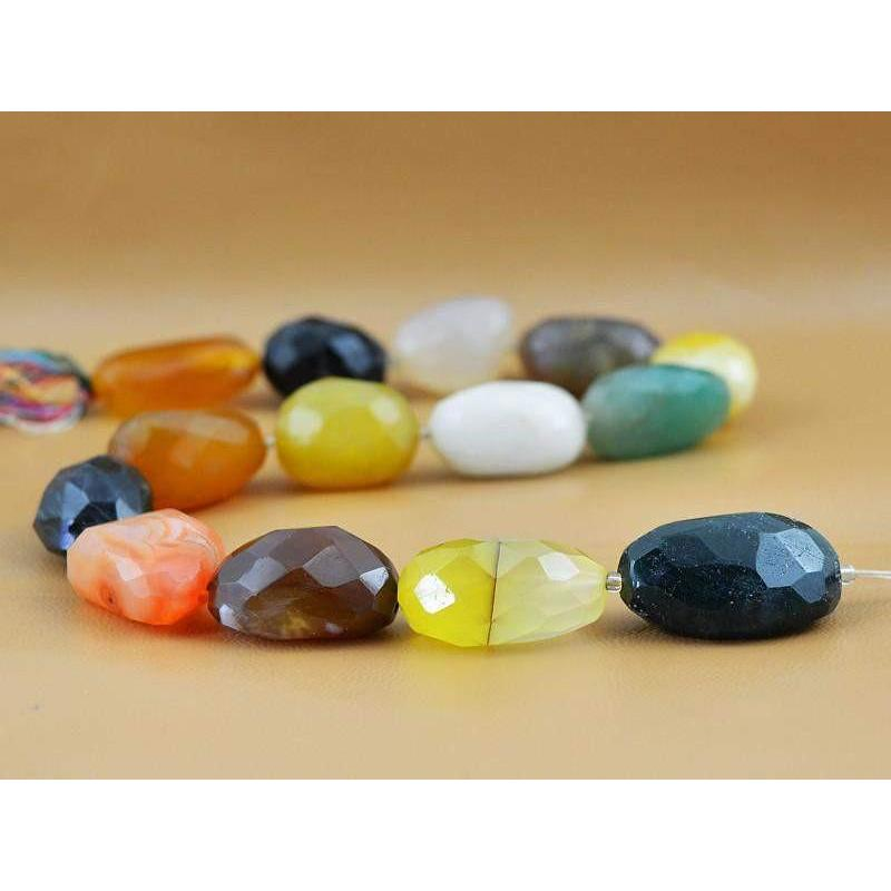 gemsmore:Natural Faceted Multicolor Onyx Drilled Beads Strand