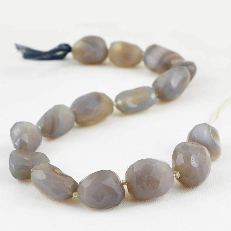 gemsmore:Natural Faceted Onyx Drilled Beads Strand