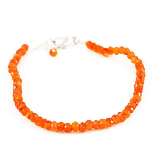 gemsmore:Natural Faceted Orange Carnelian Bracelet Round Shape Beads
