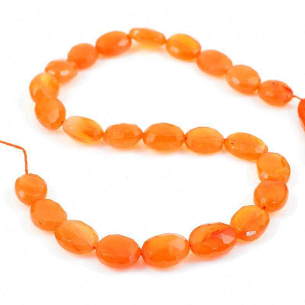 gemsmore:Natural Faceted Orange Carnelian Drilled Beads Strand