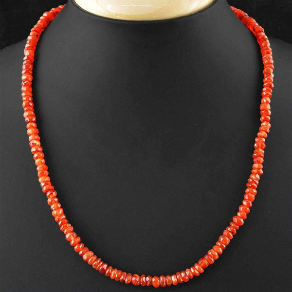 gemsmore:Natural Faceted Orange Carnelian Necklace - Round Shape Beads
