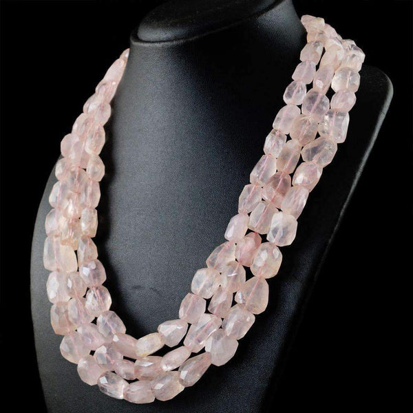 gemsmore:Natural Faceted Pink Rose Quartz Necklace - Untreated Beads