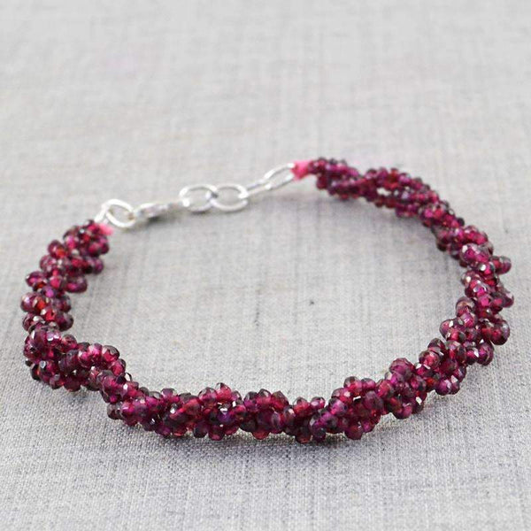 gemsmore:Natural Faceted Red Garnet Beads Bracelet - Round Shape