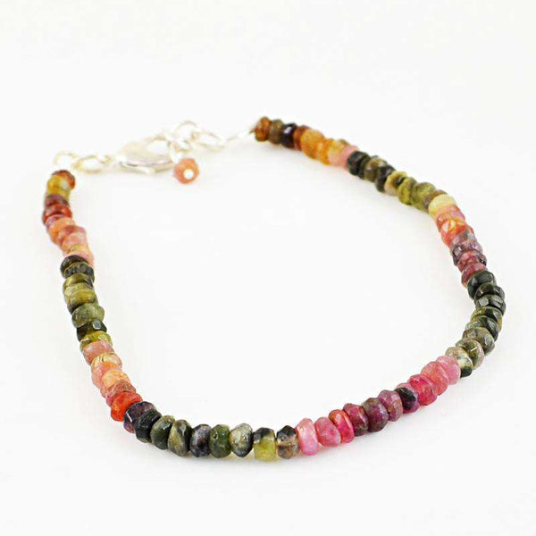 gemsmore:Natural Faceted Watermelon Tourmaline Beads Bracelet