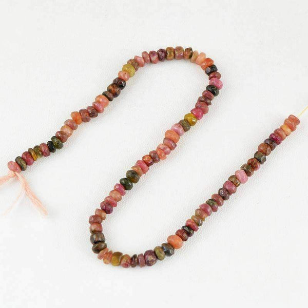 gemsmore:Natural Faceted Watermelon Tourmaline Beads Strand Round Shape Drilled